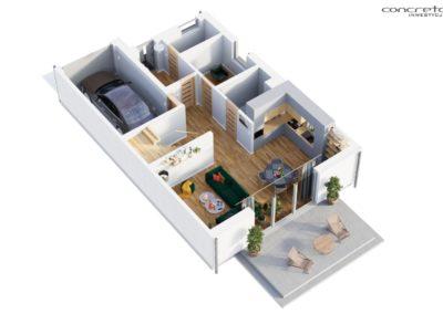 Concreto Inwestycje - Smolec ul Polna - Parter 3D